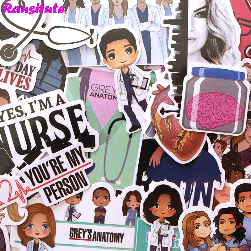 23pcs/set Grey's Anatomy Waterproof Fun Sticker Toy Luggage Sticker Motorcycle And Luggage Notebook Sticker