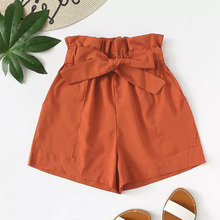 Cncool New High Waist Solid Women Shorts Office Lady Vintage Pleated Lace Bow Elastic Thin Slim Short Feminino with Pocket