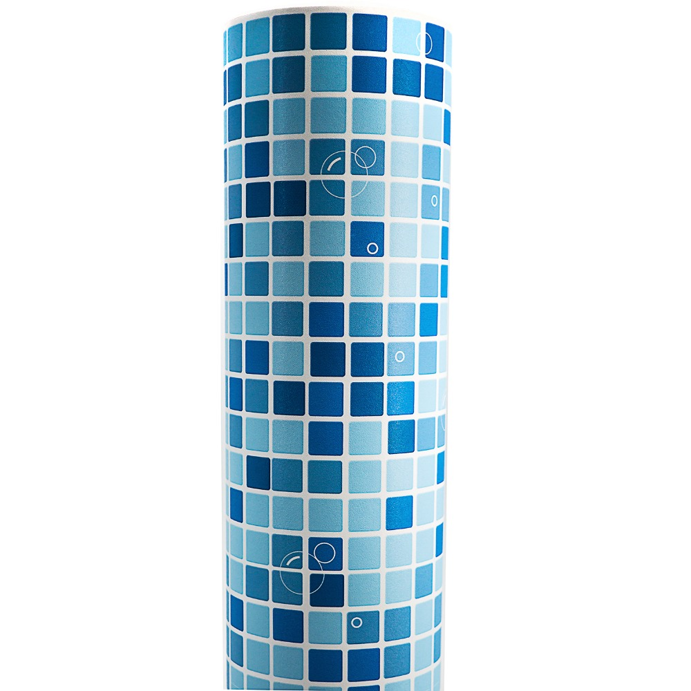 Blue Mosaic PVC Self adhesive Wallpaper Vinyl Wallpaper for  Bathroom Kitchen Waterproof Decals Sticker Contact Paper святой праведный иоанн кронштадтский