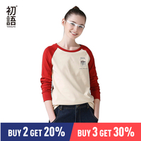 Toyouth Korean Style Contrast Color Long Sleeve T Shirts 2019 Autumn Printed O Neck Women T Shirt Casual Tops Tee Shirt Femme