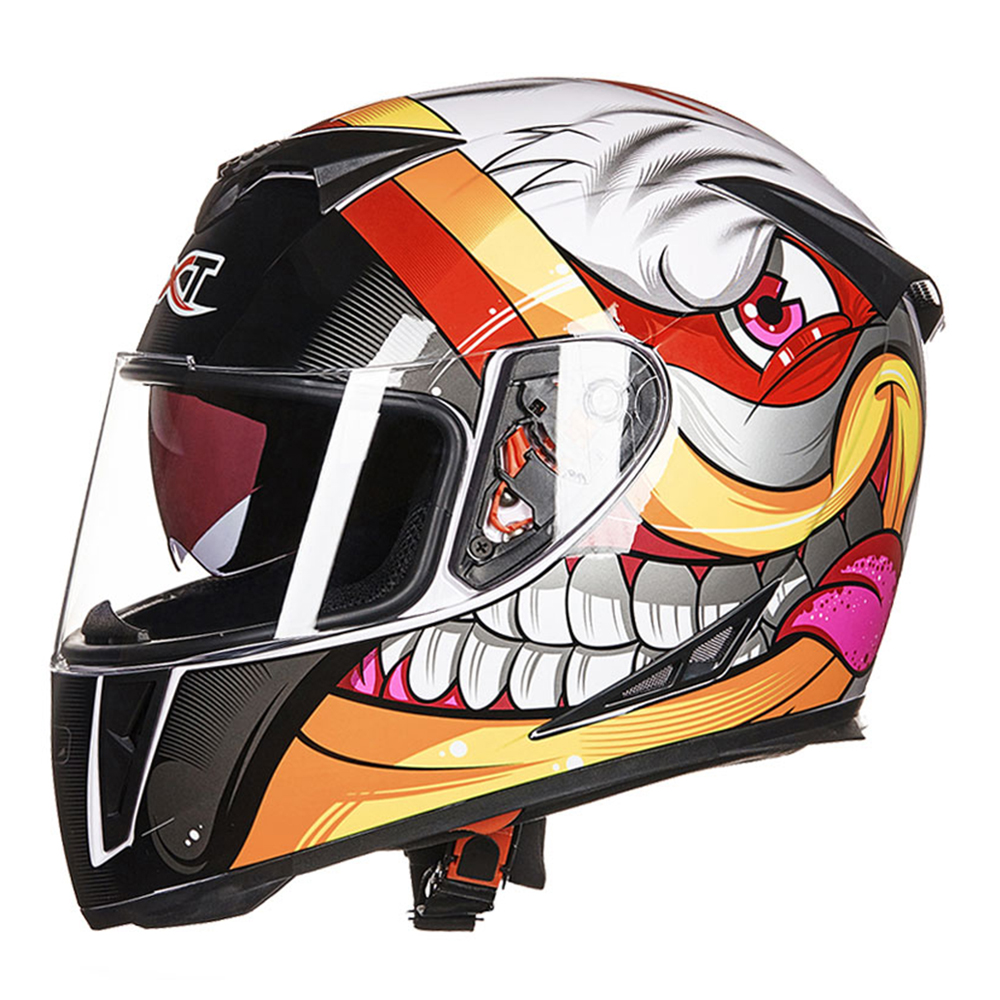 GXT Cartoon Motorcycle Helmet Flip Up Crash Helmet Motocross Breathable Comfort Doublel Lens Full Face Helmet For Motorcycle