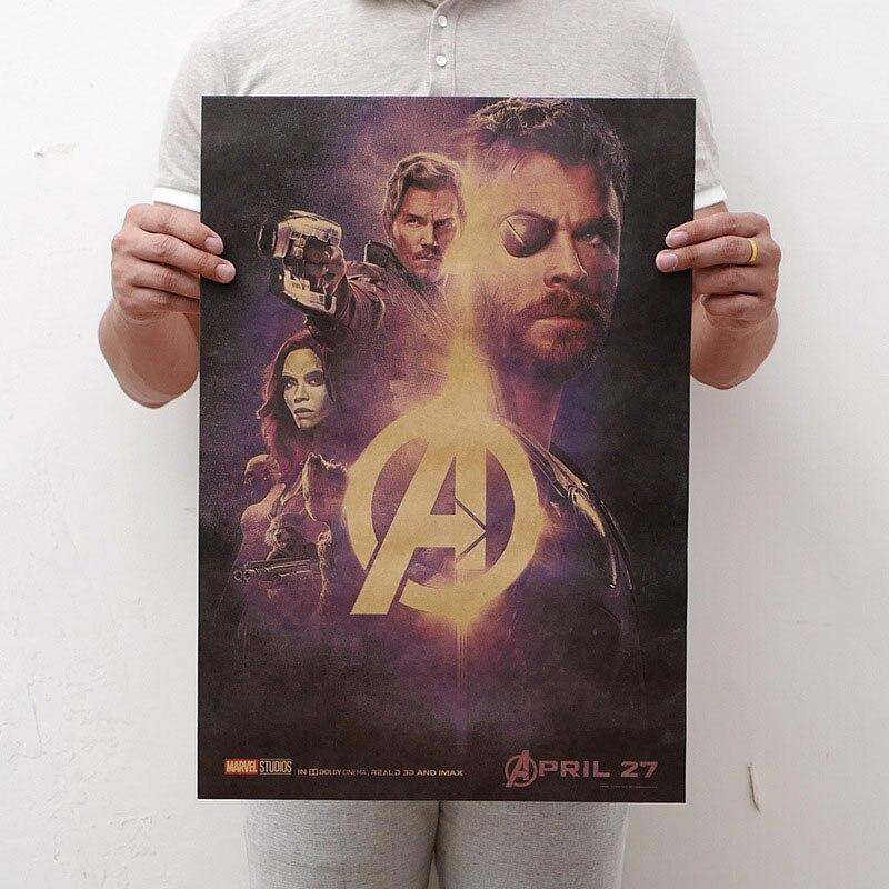 Mling 1 шт., 51,5x36 см, постер из серии Marvel, Мстители, война бесконечности, Ретро плакат, наклейки на стену для гостиной, украшение для дома - Цвет: H06