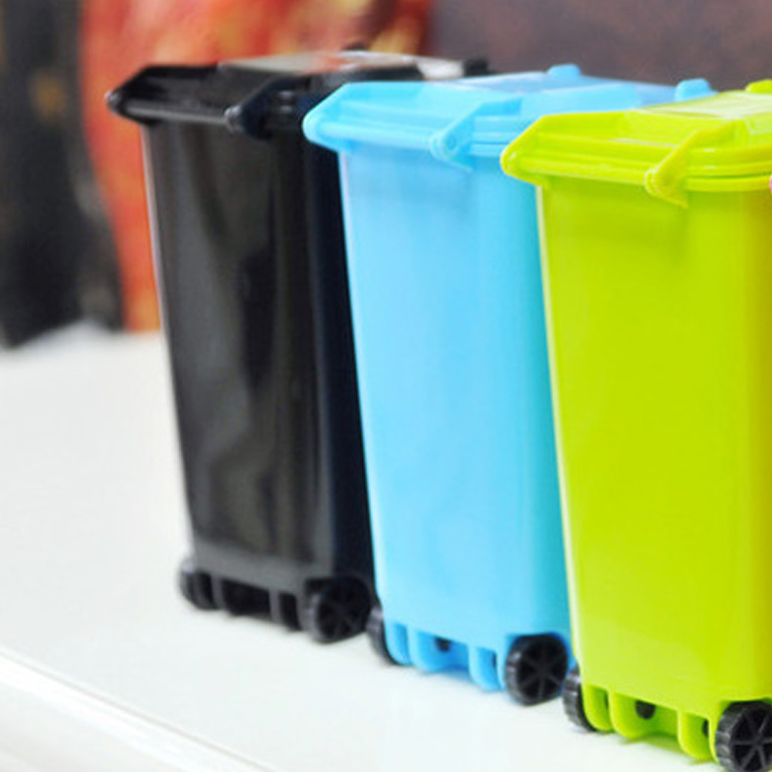1PC Office Kitchen Flip Plastic Trash Can Rubbish Bin Garbage Waste ...