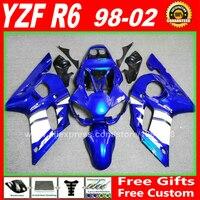 Синие белые Обтекатели набор для YAMAHA R6 1998 1999 2000 2001 2002 YZFR6 части тела комплект YZF R6 98 99 00 01 02 обтекателя комплекты W4D7