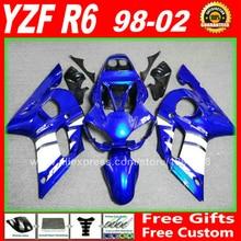 Синие белые Обтекатели набор для YAMAHA R6 1998 1999 2000 2001 2002 YZFR6 части тела комплект YZF-R6 98 99 00 01 02 обтекателя комплекты W4D7