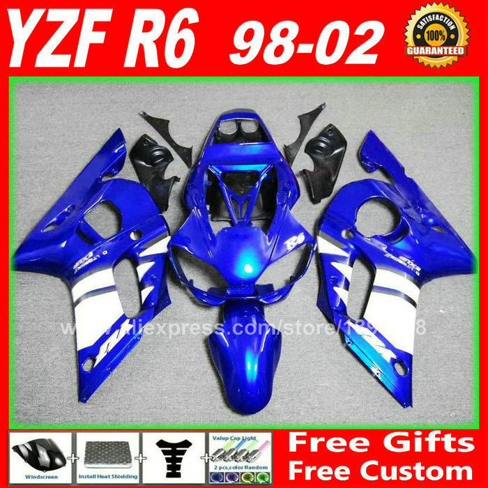 Blue white Fairings set for <font><b>YAMAHA</b></font> <font><b>R6</b></font> 1998 1999 <font><b>2000</b></font> 2001 2002 YZFR6 body parts kit yzf-<font><b>r6</b></font> 98 99 00 01 02 fairing kits W4D7 image