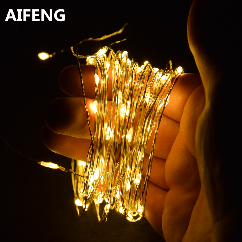 AIFENG LED holiday light Waterproof Battery Operated USB LED Silver Copper Wire String Fairy Light Strip Lamp Xmas Home Party