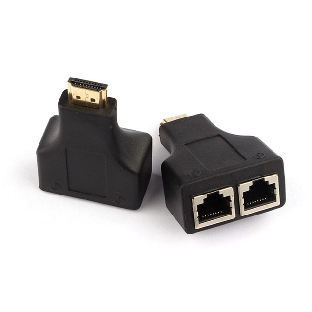 Flexible Black HDMI To Dual Port RJ45 Network Cable Extender Adapter Over by Cat 5e / 6 1080p for HD-DVD PS3 STB ETC