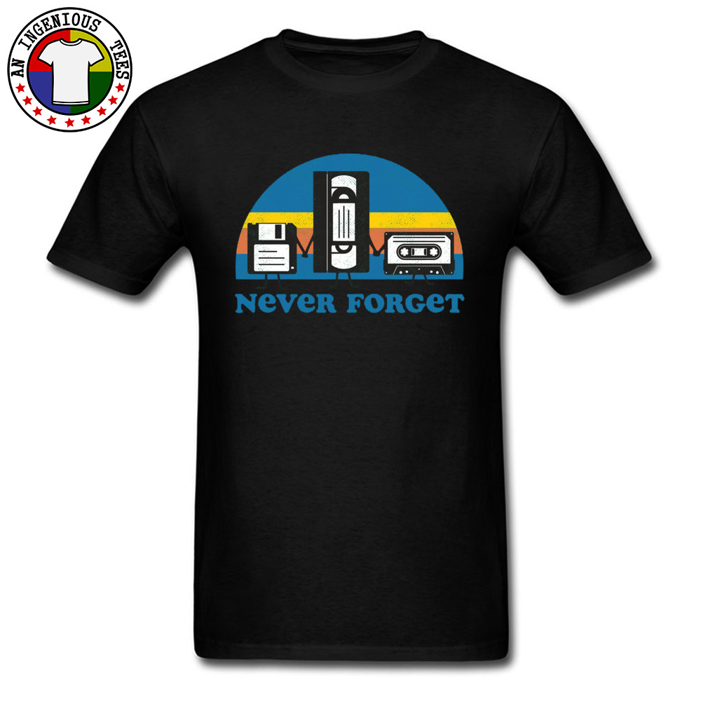 Never-Forget-disc-cassette- Family Tops Shirts for Men 100% Cotton Fall Crewneck Tshirts Simple Style Tops T Shirt Discount Never-Forget-disc-cassette- black