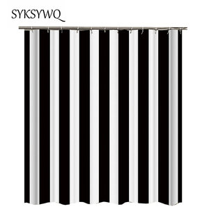 Image 2 - Black And White Striped Shower Curtain Black Bathroom Curtain White Curtains For Bathroom Shower Drop Shipping Fabric Polyester
