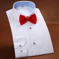 High End Men S Tuxedo Shirt Solid Color Long Sleeved Shirt Wedding Party Men S Shirts