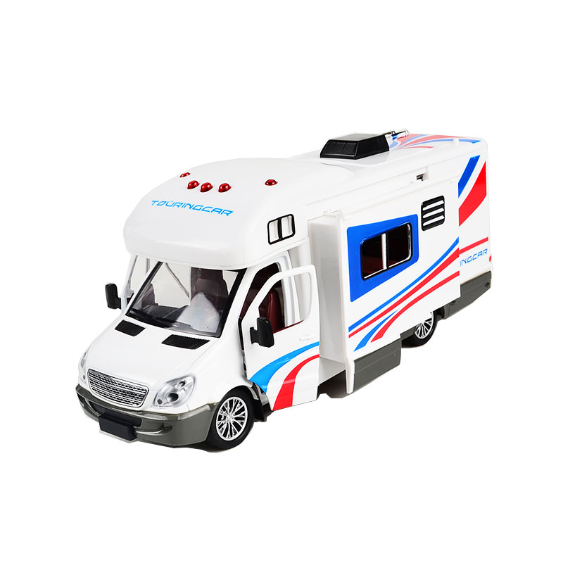 Holiday Motorhomes Morto Home Coach Toy Camper Van Model Diecast with light and sound, Pullback 21CM hand made tin model retro classic volkswagen camper van craft desktop display quality art work home decoration kid toy gift