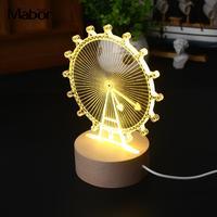 Modeling Lamp Stylish Table 3D Gift Ferris Wheel Warm White Bedroom Night Light Gadget Study nachtlampje veilleuse led nuit