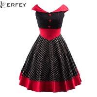 Summer Dress Elegant Sleeveless Knee Length Women Dresses Polka Dots Patchwork Vintage V Neck Retro Casaul