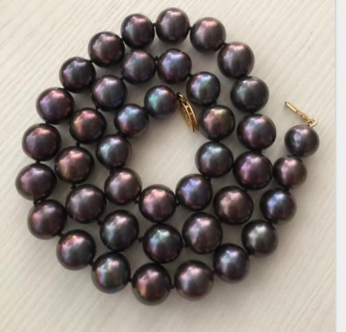 AAA round 9-10mm natural Tahitian black red pearl necklace 14k gold [ys] 9 10mm black loose natural tahitian pearls