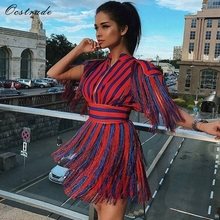 Ocstrade 2018 New Summer Women Dress Fashion Short Sleeve Tassel Red and Blue Striped Mini Evening Celebrity Party Runway Dress