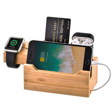 3 in 1 Bamboo Wood Charging Dock Station Stand Holder for Ap