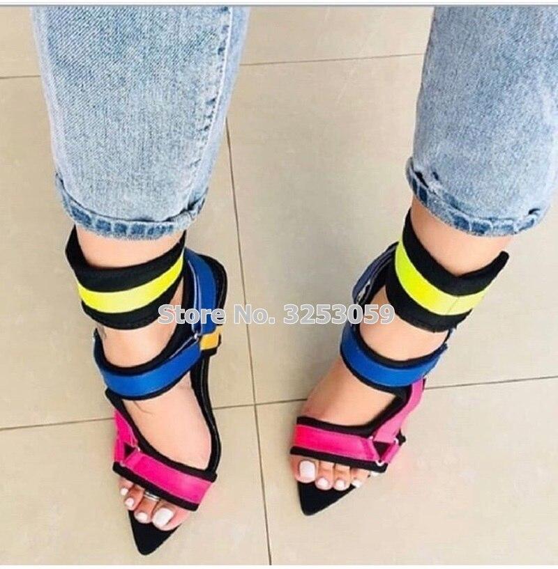 ALMUDENA nouvelle conception multi couleur mince à talons hauts sandales en métal décoration boucle sangle chaussures Cross Strappy pompes de mariage - 3