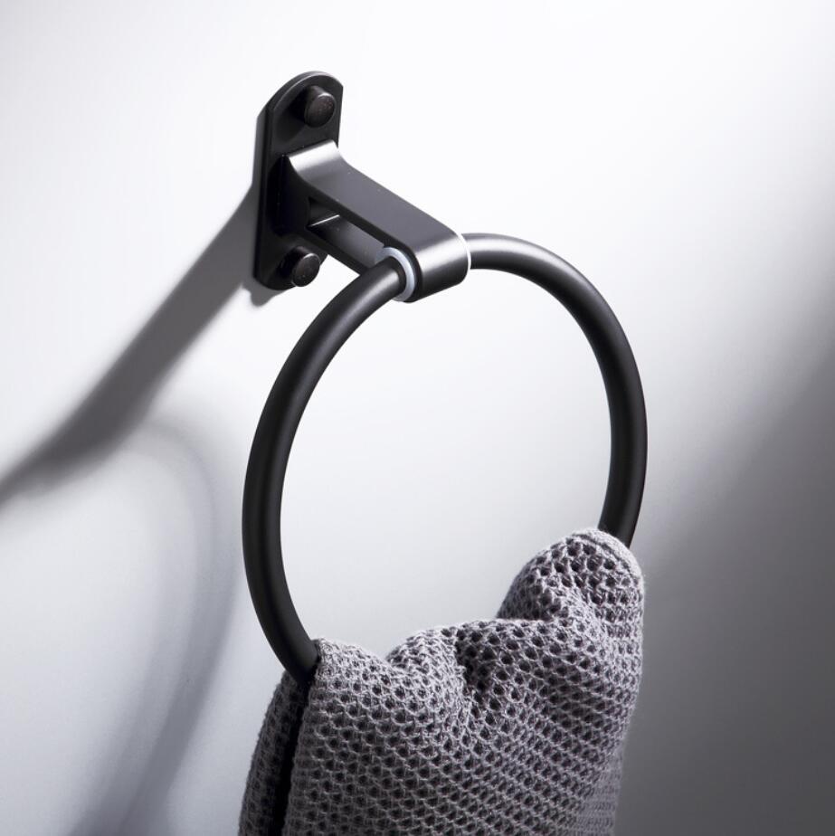 2018 Modern Design Black Towel Rings Towel Holder Round Wall-Mounted Towel Rack Bathroom Accessories Hardware