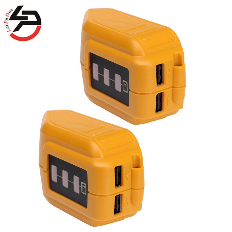 Brand New 2pcsDCB090 USB Converter Charger For DEWALT 14.4V/18V/20V Li-ion Battery Converter <font><b>DCB090</b></font> USB Device Charging Adapter image