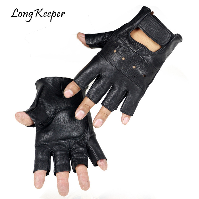 Long Keeper Men Genuine Leather Gloves High Quality Slip-resistant Luvas Half Finger Sheep Leather Fingerless Gloves Gants Moto
