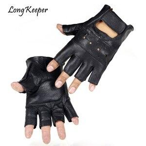 Long Keeper Men Genuine Leather Gloves High Quality Slip-resistant Luvas Half Finger Sheep Leather Fingerless Gloves gants moto(China)