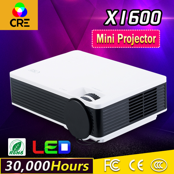CRE X1600 LCD Portable Projector AV IN/SD/USB/VGA/HDMI Home Theater 800*480 1000Lumens Multimedia Beamer With HDMI Cable gp802a mini portable led projector 200 lumens 480 320 pixels contrast ratio 600 1 with hdmi vga usb av tv sd port home theater