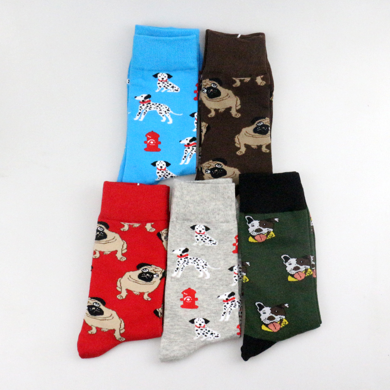 New Funky Dog Pattern Cotton Men Crew   Sock   Street Tide Crew   Socks   Pet Pug Shiba Inu Beagle Buldog Unisex Winter Happy   Sock