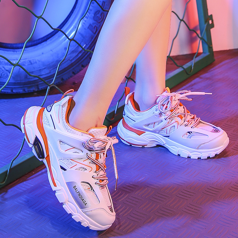 Stylish Women Casual Shoes Lovers Leather Dad Platform Chunky Sneakers Harajuku Flat Thick Sole Tenis Wedge White Basket Walking in Women 39 s Vulcanize Shoes from Shoes