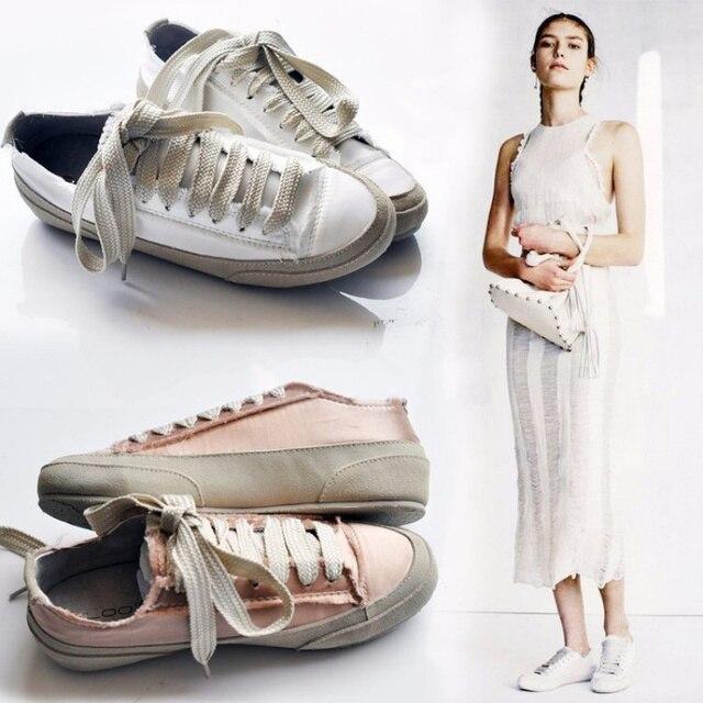 Moda 2019 Bahar Kirli Ayakkabılar Kadın Dantel Up Sneakers Düz Sürüngen Ipek Espadrilles beyaz ayakkabı Kadın Platformu Bayan Ayakkabıları