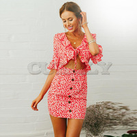 CUERLY New Vintage Party Floral Print Dress Button Retro Women Ruffles Dress Sexy Flare Sleeve Tie Up Summer Bodycon Vestidos L8