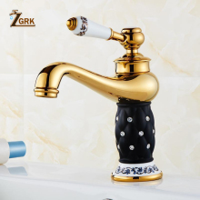 ZGRK Basin Faucets Diamond Bathroom Faucet Gold Mixer Tap Single Handle Hot Cold Washbasin Yorneiras