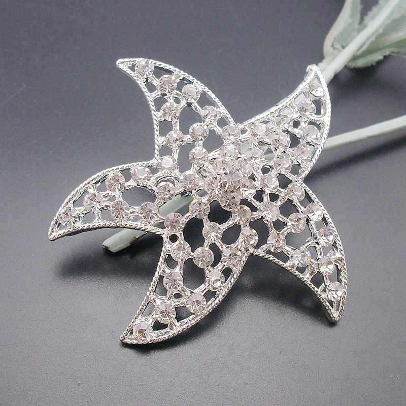 Moda Işıltılı Gümüş Ton Temizle Kristal Rhinestones Deniz Kum Denizyıldızı Yıldız Plaj Pin Broş, Ürün No.: BH7477