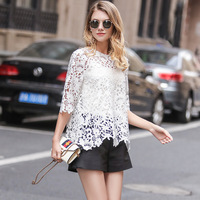 Water soluble Lace Shirt 2017 Summer New European And American women's Sweet Retro Sleeves Lace Jumper Tops