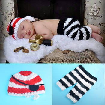 New Top Sale Pirate Design Newborn Photography Props Handmade Crochet Baby Hat with Pants Set Infant Costume Outfit football baby hat and shorts suit hot sale baby handmade cotton costume newborns photography props infant outfits