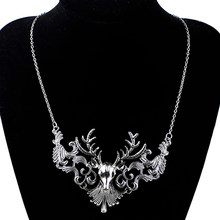 Retro Bronze Antique Silver Deer Head Design Pendant Necklace for Women Cool Jewelry Charms Copper Animal Choker Necklace New(China)