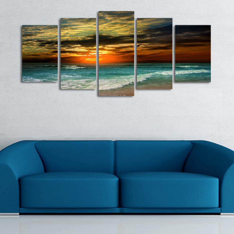 5 Unframed Plane Seacape Beach Sunset Canvas Print Painting Wall Art Picture Home Decoration Living Room Canvas Painting