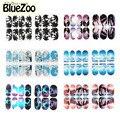 BlueZoo Новое Прибытие 1 Лист Полный Световой Блеск Наклейки Панорамный вид Наклейки 12 Конструкций для Выбора Nail Art Наклейки DIY