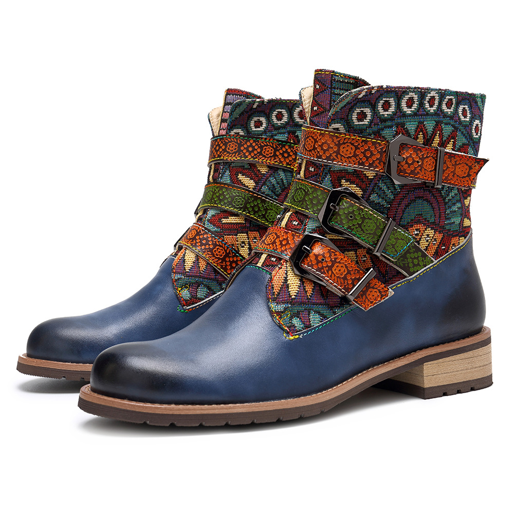 Johnature Bukle Zip National 2019 New Genuine Leather Ankle Boots for Women Ladies Shoes Woman Flower