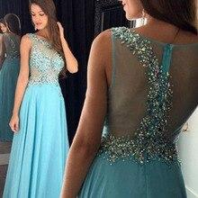 Light Blue prom dresses 2016 Oansatz Perlen mit Kristallen A Line Durchsichtig Chiffon Abendgesellschaft Günstige vestido para formatura
