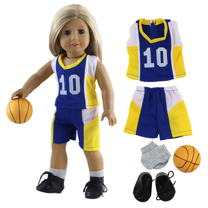 Sport Outfit Basketball Uniform for 18/'/' AG American Doll  Doll