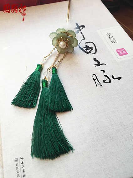 Coelho pele verde borla vara de cabelo hanfu traje acessórios para o cabelo brincos jóias de cabelo jade amarelo vara de cabelo