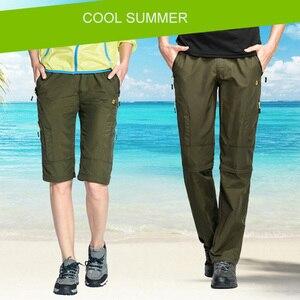 Image 2 - ניילון נשלף עמיד למים טיולים מכנסיים נשים/גברים מהיר יבש מכנסיים הרי/קמפינג/טרקים חיצוני מכנסיים ספורט מכנסיים AW003