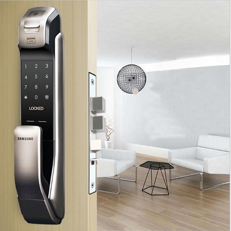 SAMSUNG SHP-DP728 Keyless BlueTooth отпечатков пальцев PUSH PULL двухстороннее цифровой замок английская версия большой врезной серебряный цвет