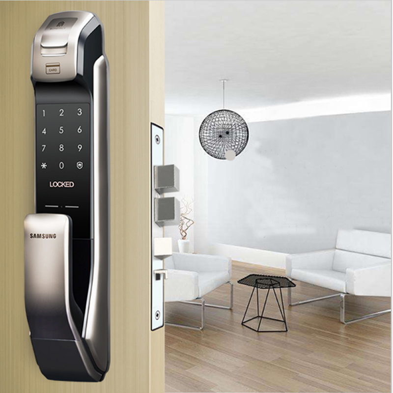 SAMSUNG SHP-DP728 Keyless BlueTooth Impronte Digitali PUSH PULL Two Way Digital Door Lock Inglese Versione Grande Da Infilare Argento Colore
