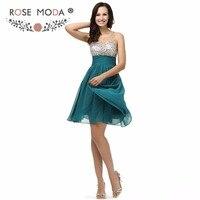 Роза Moda Bling короткие Teal платье для выпускного вечера Кристалл бисера по колено Выпускные платья See Through Top рождественское праздничное платье
