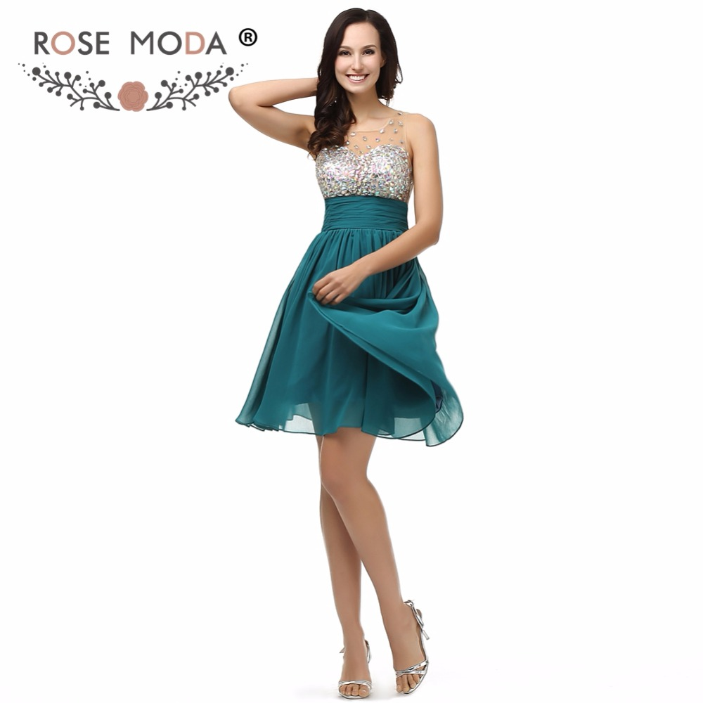 Rose Moda Bling Short Teal   Prom     Dress   Crystal Beaded Knee Length   Prom     Dresses   See Through Top Xmas Party   Dress   2018
