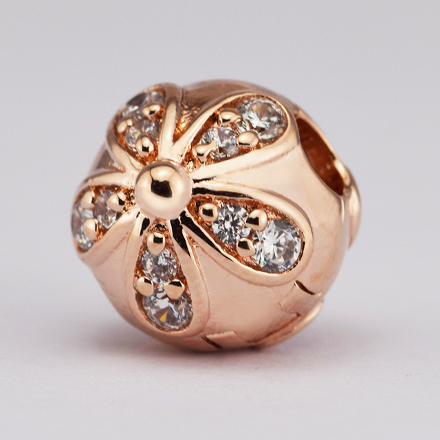 53c27447a Fits For Pandora Bracelets Dazzling Daisies Clip Charms with Rose Gold  Color 100% 925 Sterling-Silver-Jewelry Beads Free Ship