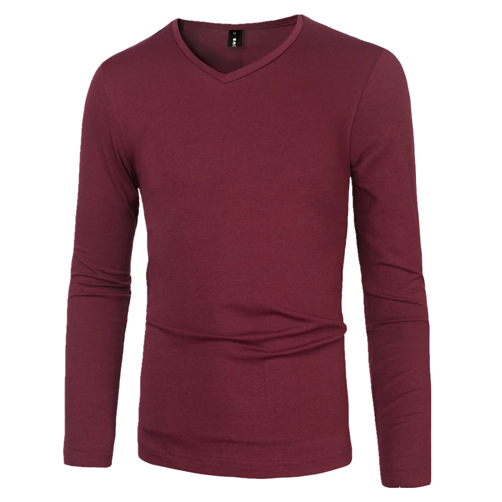 100% cotton mens t shirts fashion 2016 casual v neck long sleeve t ...