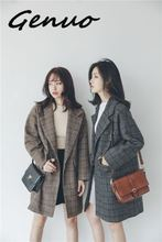 Autumn/Winter S-L New Fashion Loose Plaid Thick Women Woolen Coat with Pocket 2019 Casual Female Outwear Coffee Gray One Button plaid loose fitting pocket design coat